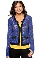 Eyeshadow Lace Jacket with Crochet Trim