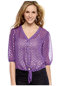 Eyeshadow Tie Front Foil Dot Shirt