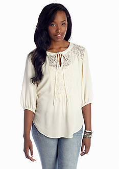 Eyeshadow Lace Inset Peasant Top