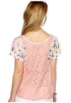 Eyeshadow Dolman Sleeve Floral Babydoll with Lace Back Top