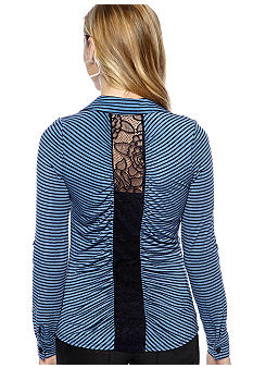 Eyeshadow Long-Sleeved Shirt with Back Lace Inset