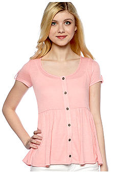 Eyeshadow Short-Sleeve Button Front Babydoll
