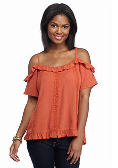 Eyeshadow Vertical Lace Cold Shoulder Top
