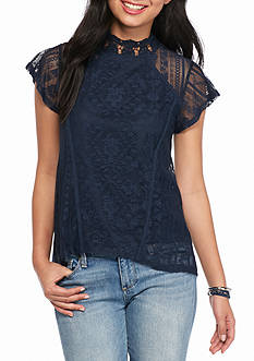 Eyeshadow High Neck Lace Blouse