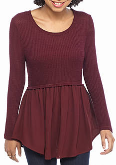 Eyeshadow Long Sleeve Babydoll 2Fer