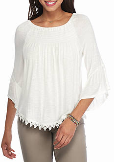 Eyeshadow Smock Shoulder Lace Trim Top