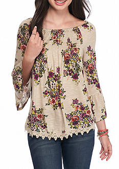 Eyeshadow Printed Smock Shoulder Lace Trim