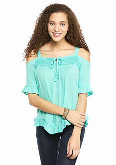 Eyeshadow Cold Shoulder Ruffle Hem Top