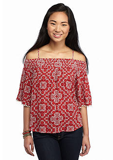 Eyeshadow Medallion Printed Woven Cold Shoulder Top