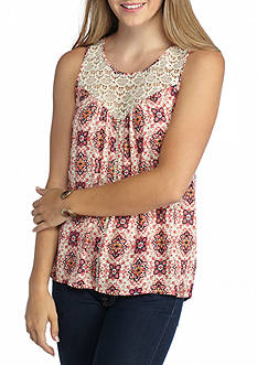 Eyeshadow Crochet Neck Printed Tank
