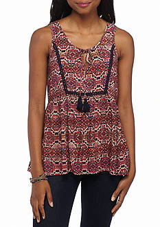 Eyeshadow Printed Tassel Neck Peasant Tank