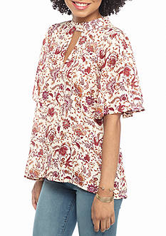 Eyeshadow Keyhole High Neck Printed Blouse