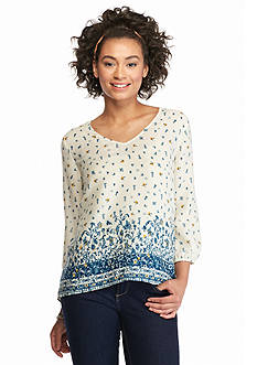 Eyeshadow Border Print Popover Blouse