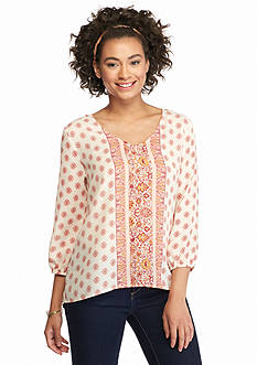 Eyeshadow Placement Print Popover Blouse