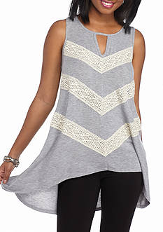 Eyeshadow Crochet Miter Stripe Tank
