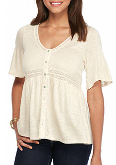 Eyeshadow Button Front Babydoll Top