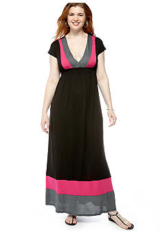 Eyeshadow Plus Size Colorblock Maxi Dress