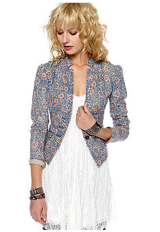 Free People Floral Printed Denim Blazer