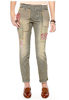 Free People Railroad Patched Crochet Denim Trouser