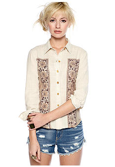 Free People Printed Cotton Voile Button Up Blouse