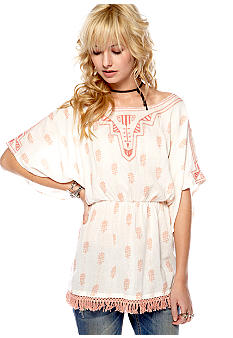 Free People Printed Cozy Gauze Top