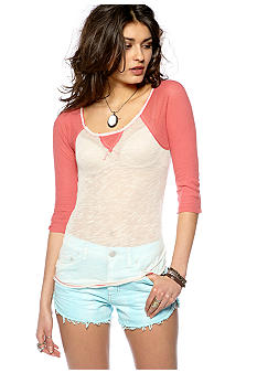 Free People Sheerly Baseball Layering Knit