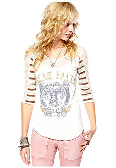 Free People Stripe Knit Screen Print Top