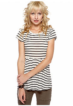 Free People Stripe Cotton Linen Knit Top