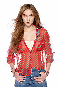 Free People Easy Rider Sheer Button Front Blouse