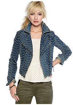 Free People Chevron Punch Denim Jacket