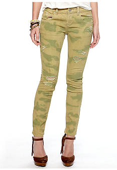 Free People Destroyed Camo Skinny Jean