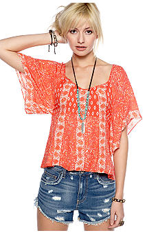 Free People Printed Textured Rayon Top