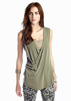 Free People Nocturnal Wrap Front Sleeveless Top