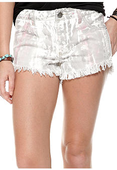 Free People Hi Lo Painted Denim Cutoff Short
