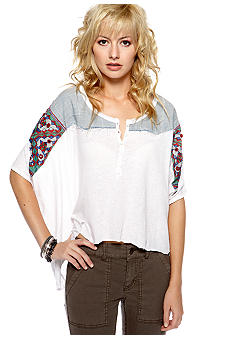 Free People Cotton Linen Knit Top