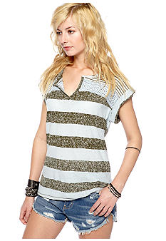 Free People Pieced Mesh Stripe Top