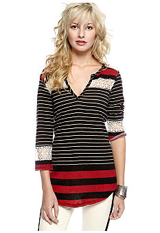 Free People Stripe Crochet Knit Top