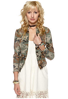 Free People Camo Denim Blazer