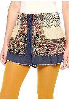 Free People Crinkle Gauze Smocked Waist Short