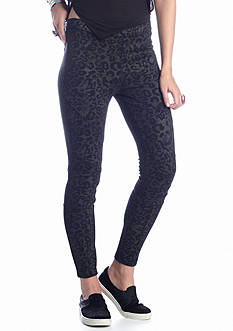 Free People Leopard Print Mid Rise Seamed Skinny Pant
