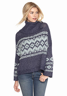 Free People Fair Isle Split Neck Sweater
