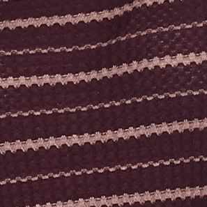 Womens Designer Clothing: Tops: Plum/Mauve Combo Free People Striped Drippy Thermal Knit Top