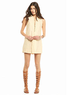 Free People Poppin Off Poplin Striped Mini Dress