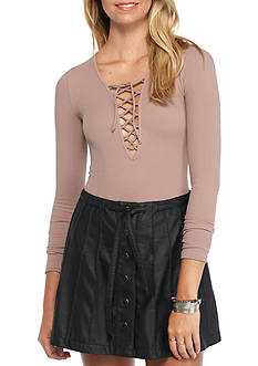 Free People Lace Up Long Sleeve Tee