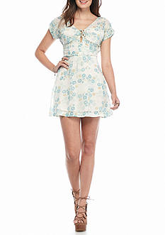 Free People Yours Truly Printed Mini Dress