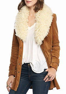 Free People Lady Lane Faux Fur Collar Jacket