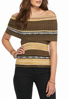 Free People Carly Cowl Striped Top
