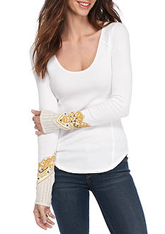 Free People Bandana Cuff Long Sleeve Tee