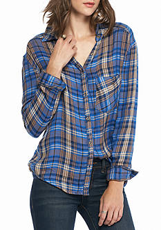 Free People Joplin Plaid Button Down Top