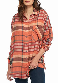 Free People Year Round Plaid Button Down Shirt